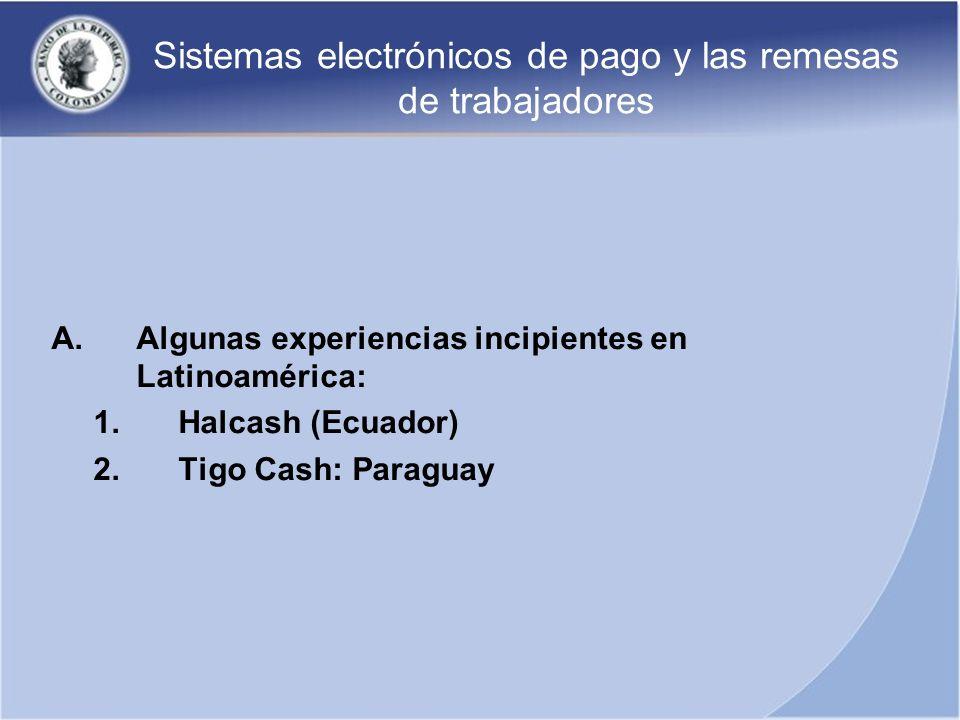 Sistemas electrónicos de pago y las remesas de trabajadores A.Algunas experiencias incipientes en Latinoamérica: 1.Halcash (Ecuador) 2.Tigo Cash: Para