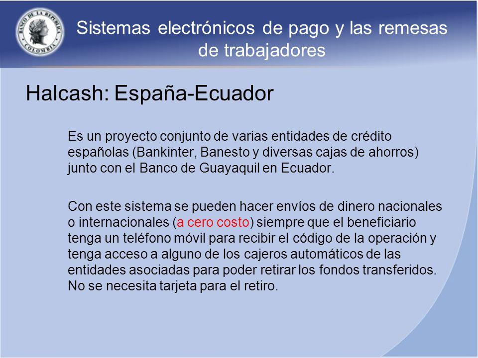 Sistemas electrónicos de pago y las remesas de trabajadores Halcash: España-Ecuador Es un proyecto conjunto de varias entidades de crédito españolas (