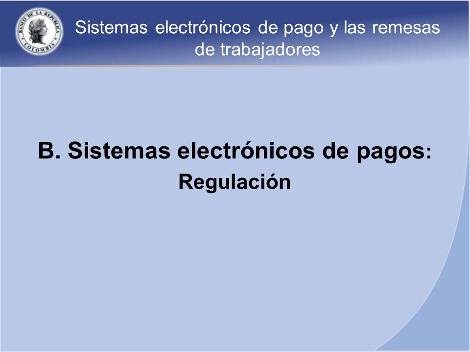 Sistemas electrónicos de pago y las remesas de trabajadores B. Sistemas electrónicos de pagos : Regulación