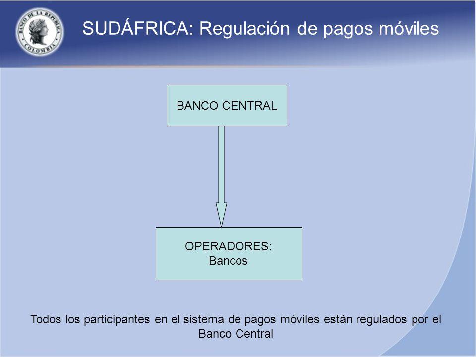 SUDÁFRICA: Regulación de pagos móviles BANCO CENTRAL OPERADORES: Bancos Todos los participantes en el sistema de pagos móviles están regulados por el