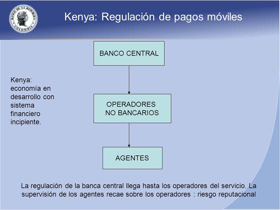 Kenya: Regulación de pagos móviles BANCO CENTRAL AGENTES OPERADORES NO BANCARIOS La regulación de la banca central llega hasta los operadores del serv