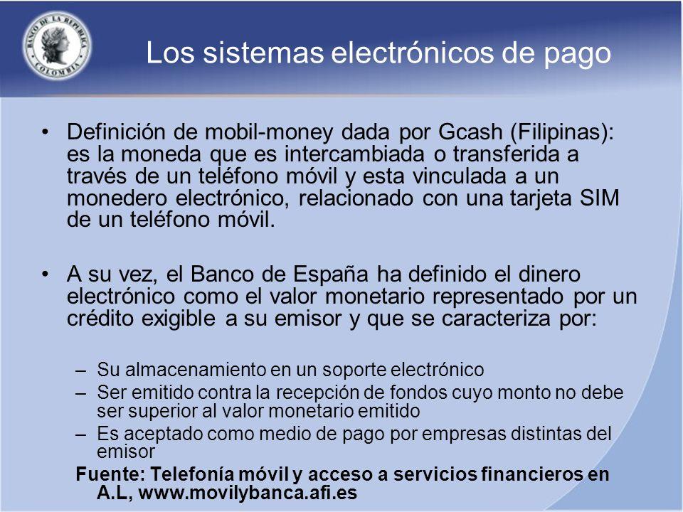Los sistemas electrónicos de pago Los sistemas de pagos móviles se catalogan en cuatro categorías: 1.Solo bancos 2.Bancos + Telcos (compañías de teléfonos) 3.Solo Telcos (emisor de moneda electrónica) 4.Otros proveedores