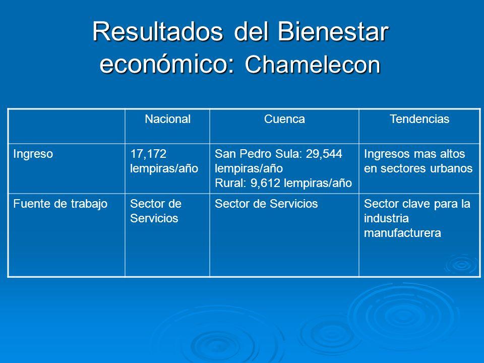 Resultados del Bienestar económico: Chamelecon NacionalCuencaTendencias Ingreso17,172 lempiras/año San Pedro Sula: 29,544 lempiras/año Rural: 9,612 le