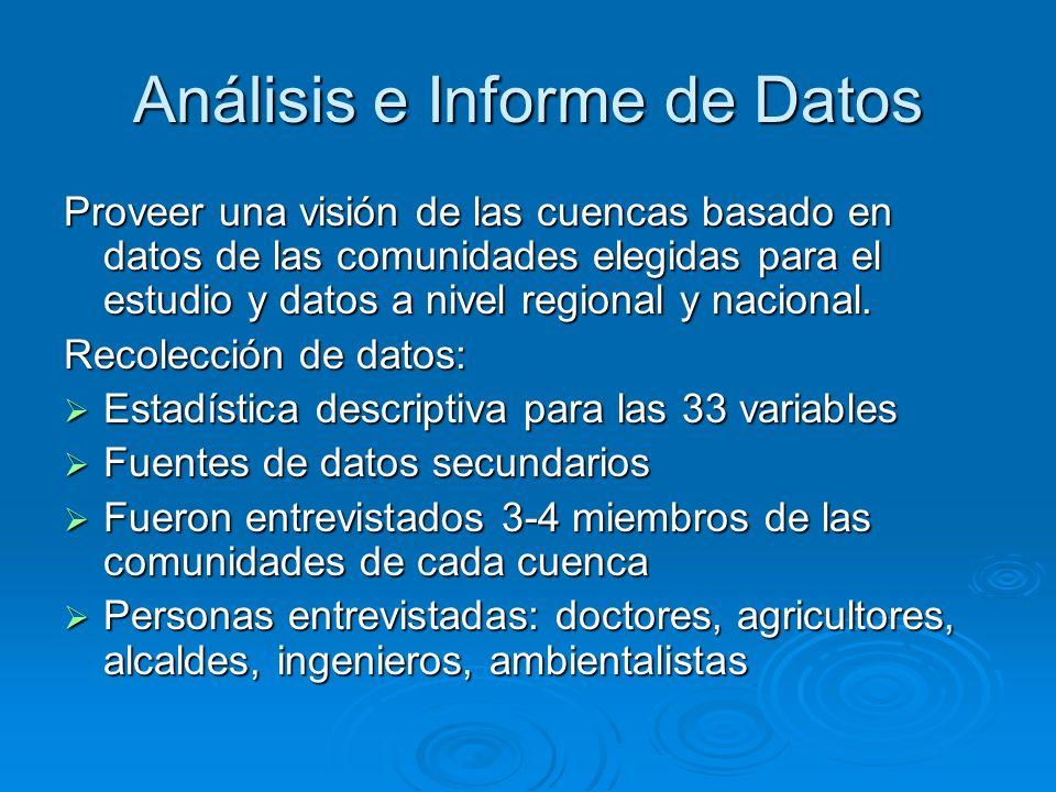 Análisis e Informe de Datos Proveer una visión de las cuencas basado en datos de las comunidades elegidas para el estudio y datos a nivel regional y n