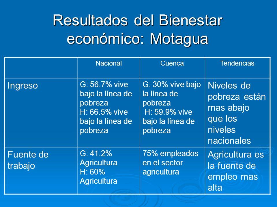 Resultados del Bienestar económico: Motagua NacionalCuencaTendencias Ingreso G: 56.7% vive bajo la línea de pobreza H: 66.5% vive bajo la línea de pob