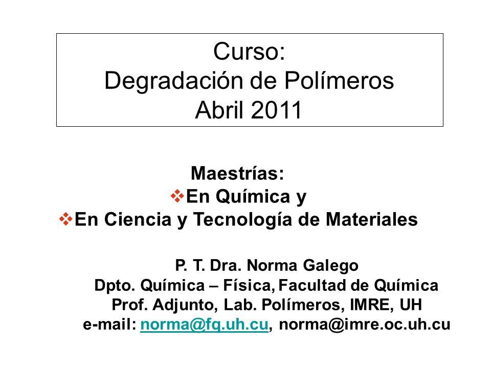 Maestrías: En Química y En Ciencia y Tecnología de Materiales P. T. Dra. Norma Galego Dpto. Química – Física, Facultad de Química Prof. Adjunto, Lab.
