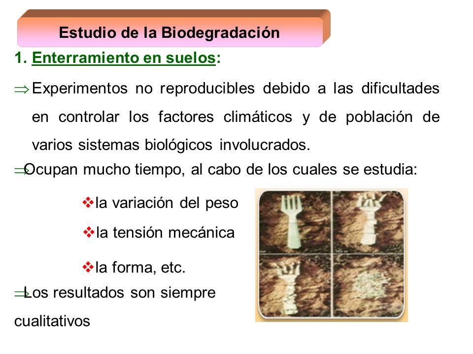 1.Enterramiento en suelos: Experimentos no reproducibles debido a las dificultades en controlar los factores climáticos y de población de varios siste