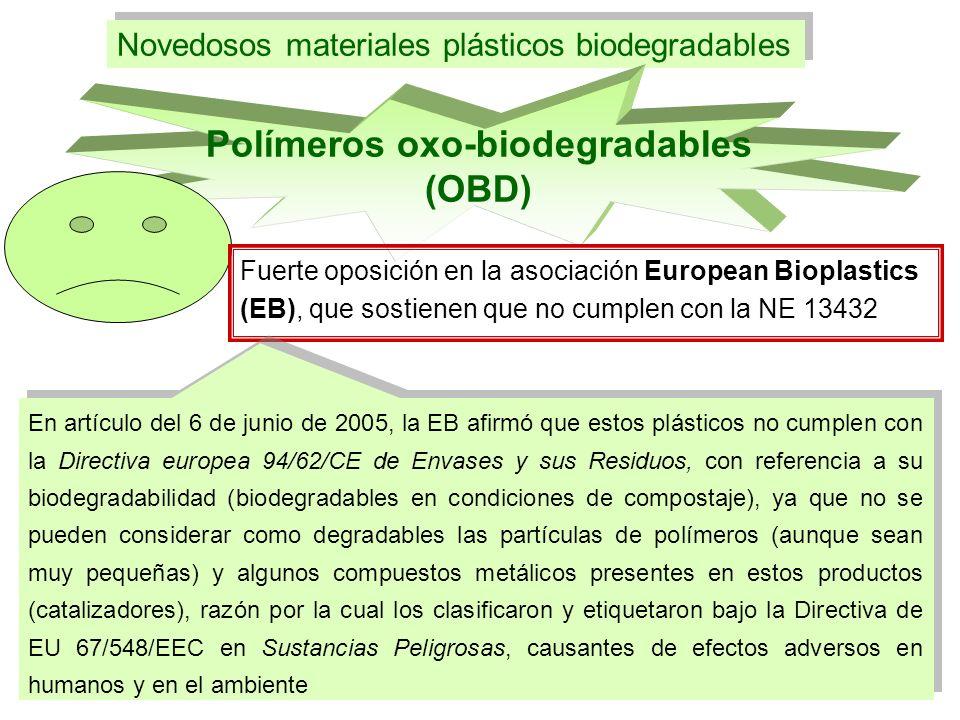 Novedosos materiales plásticos biodegradables Polímeros oxo-biodegradables (OBD) Fuerte oposición en la asociación European Bioplastics (EB), que sost