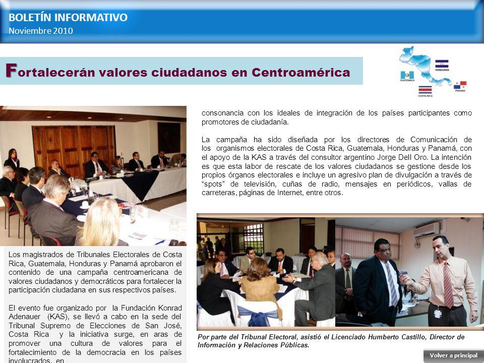 Los magistrados de Tribunales Electorales de Costa Rica, Guatemala, Honduras y Panamá aprobaron el contenido de una campaña centroamericana de valores