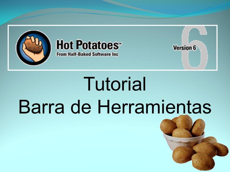 Esta es la portada de Hot Potatoes.Aquí verá unas pestañas en la barra de herramientas.