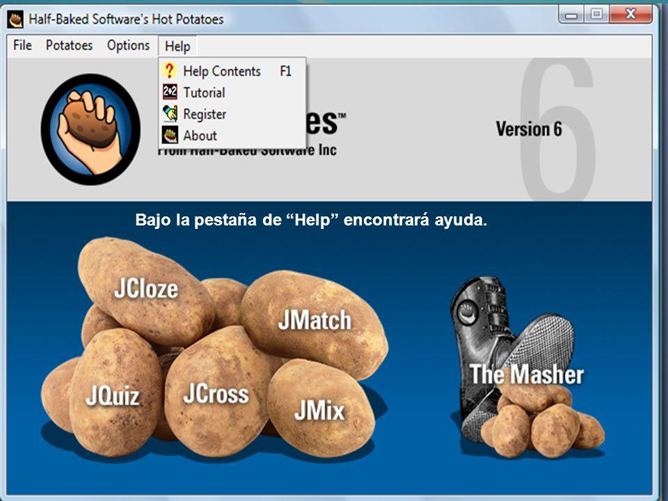 Al entrar en una de las categorías de Hot Potatoes, verá el área de trabajo.