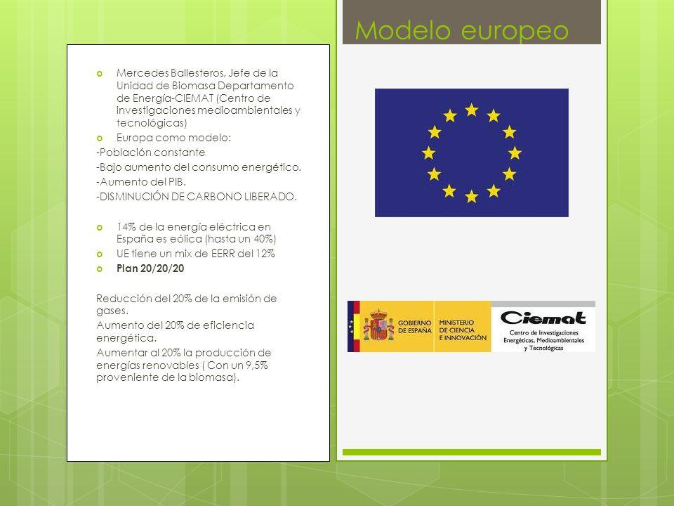 Mercedes Ballesteros, Jefe de la Unidad de Biomasa Departamento de Energía-CIEMAT (Centro de investigaciones medioambientales y tecnológicas) Europa como modelo: -Población constante -Bajo aumento del consumo energético.