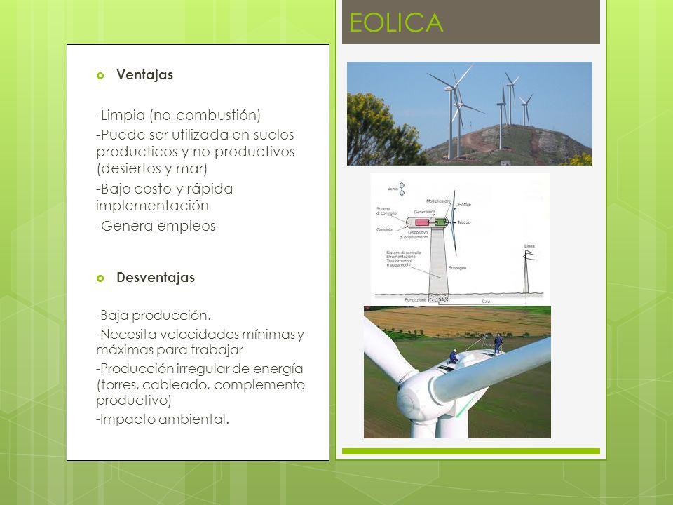 Ventajas -Limpia (no combustión) -Puede ser utilizada en suelos producticos y no productivos (desiertos y mar) -Bajo costo y rápida implementación -Genera empleos Desventajas -Baja producción.