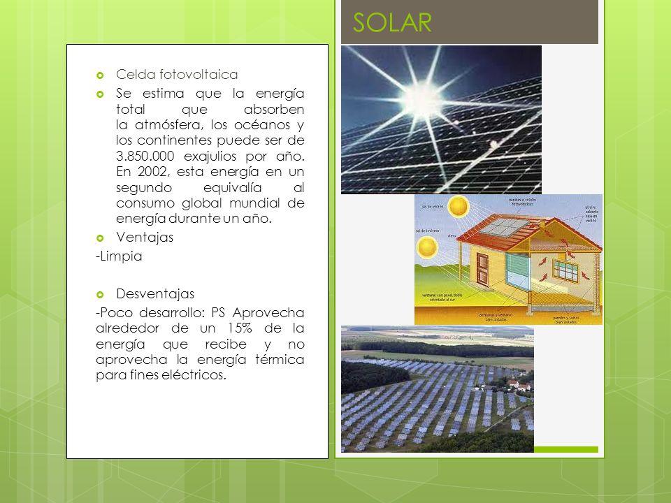 Celda fotovoltaica Se estima que la energía total que absorben la atmósfera, los océanos y los continentes puede ser de 3.850.000 exajulios por año. E