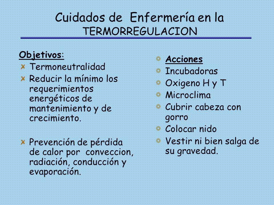 Cuidados de Enfermería en la TERMORREGULACION Objetivos: Termoneutralidad Reducir la mínimo los requerimientos energéticos de mantenimiento y de creci