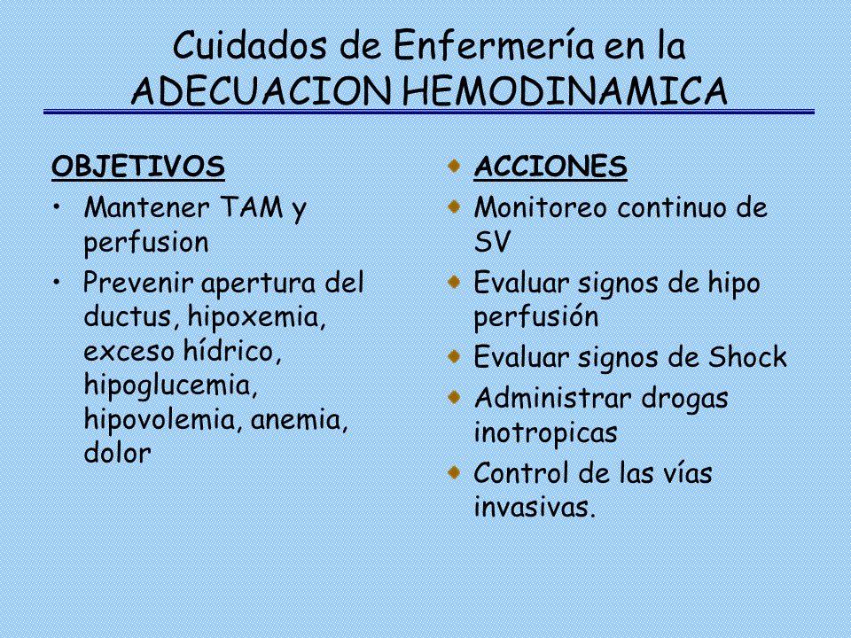 Cuidados de Enfermería en la ADECUACION HEMODINAMICA OBJETIVOS Mantener TAM y perfusion Prevenir apertura del ductus, hipoxemia, exceso hídrico, hipog