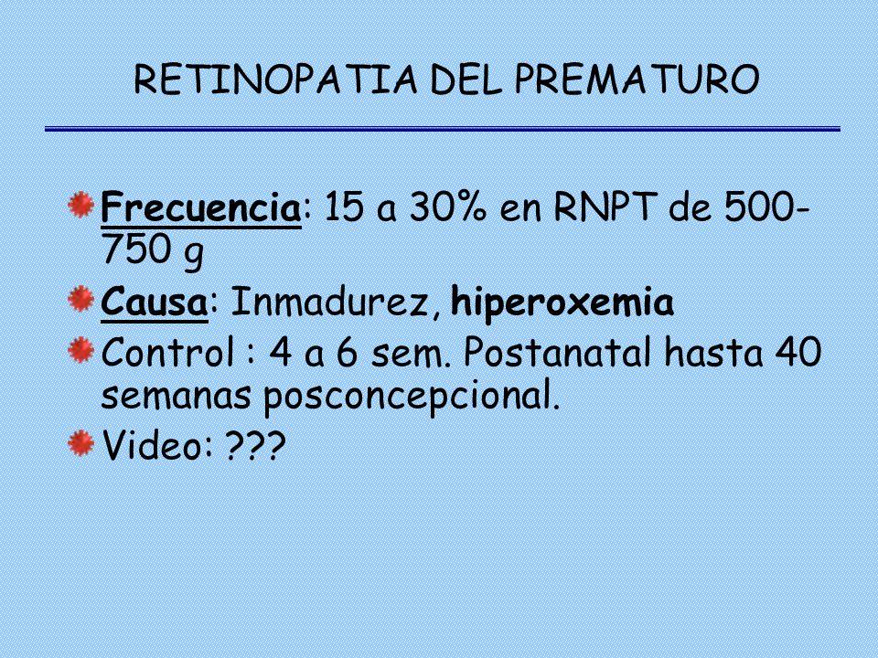RETINOPATIA DEL PREMATURO Frecuencia: 15 a 30% en RNPT de 500- 750 g Causa: Inmadurez, hiperoxemia Control : 4 a 6 sem. Postanatal hasta 40 semanas po