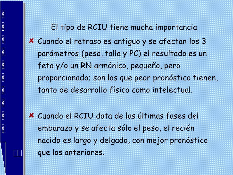 El tipo de RCIU tiene mucha importancia Cuando el retraso es antiguo y se afectan los 3 parámetros (peso, talla y PC) el resultado es un feto y/o un R