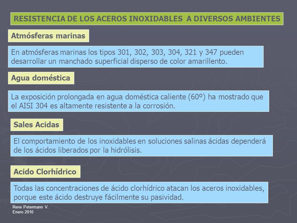 Rene Petermann V. Enero 2010 RESISTENCIA DE LOS ACEROS INOXIDABLES A DIVERSOS AMBIENTES En atmósferas marinas los tipos 301, 302, 303, 304, 321 y 347