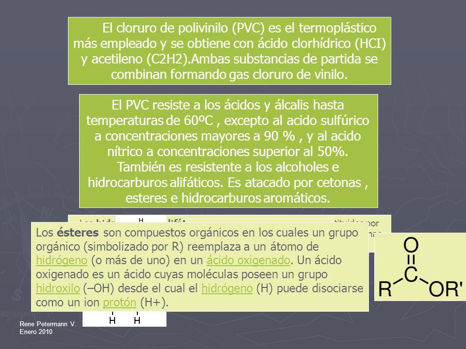 Rene Petermann V. Enero 2010 El PVC resiste a los ácidos y álcalis hasta temperaturas de 60ºC, excepto al acido sulfúrico a concentraciones mayores a