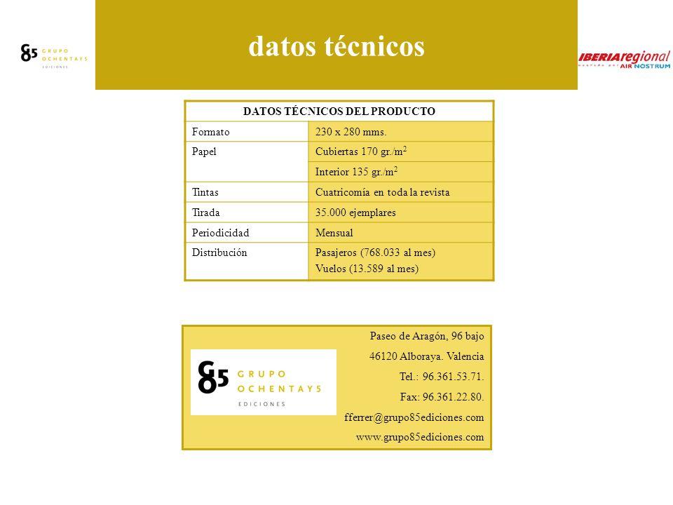 datos técnicos DATOS TÉCNICOS DEL PRODUCTO Formato230 x 280 mms.
