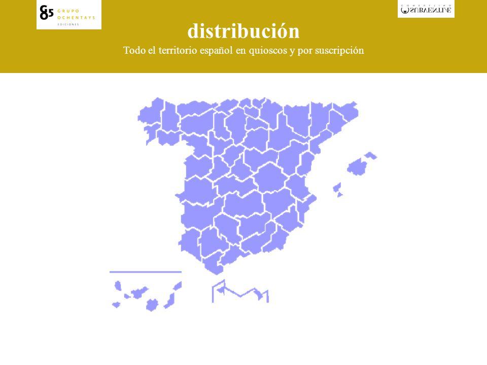 distribución Todo el territorio español en quioscos y por suscripción