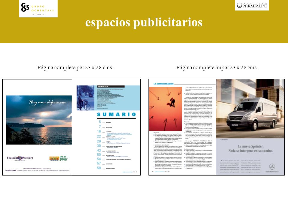 espacios publicitarios Página completa impar 23 x 28 cms.Página completa par 23 x 28 cms.