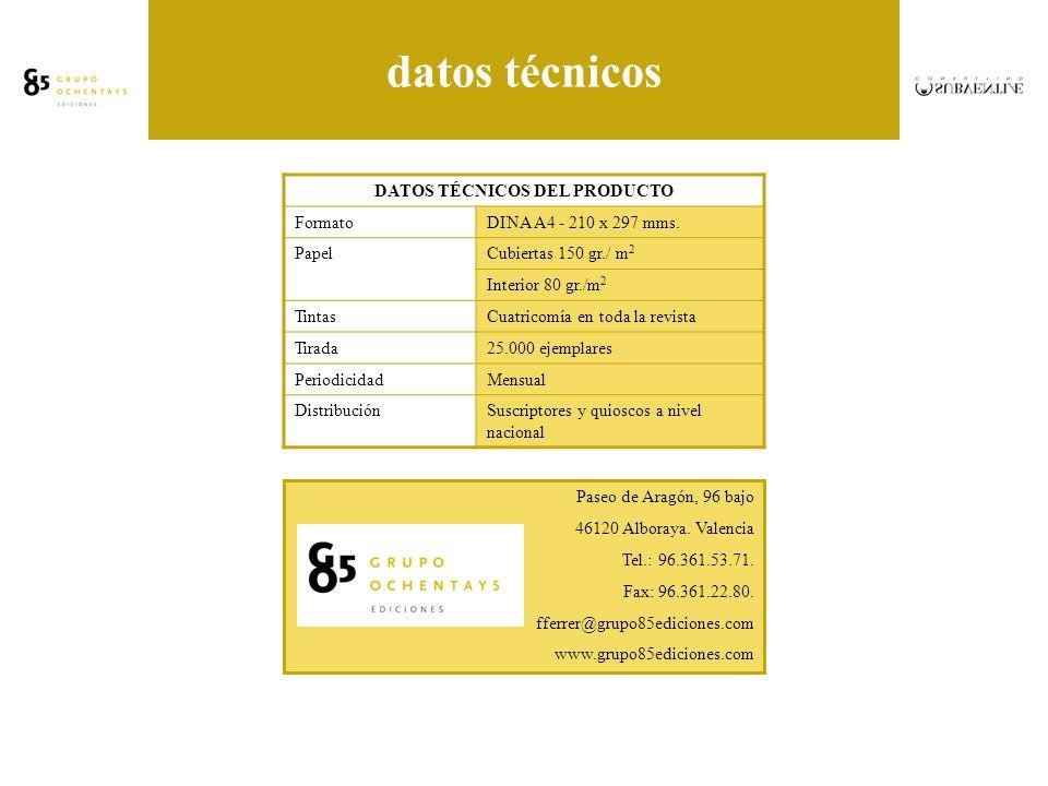 datos técnicos DATOS TÉCNICOS DEL PRODUCTO FormatoDINA A4 - 210 x 297 mms.