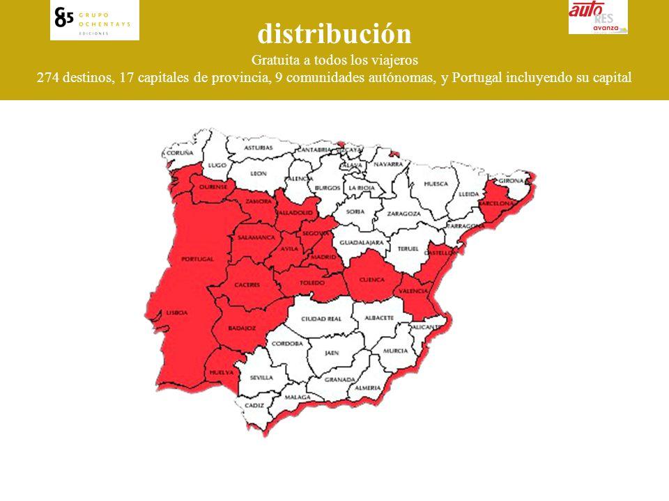 distribución Gratuita a todos los viajeros 274 destinos, 17 capitales de provincia, 9 comunidades autónomas, y Portugal incluyendo su capital