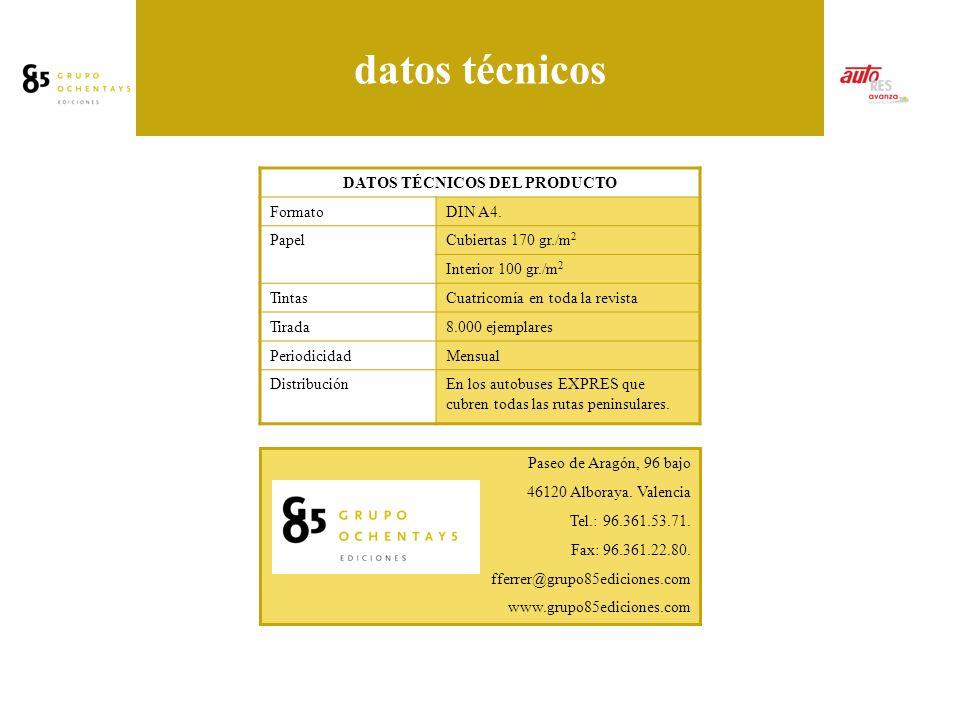 datos técnicos DATOS TÉCNICOS DEL PRODUCTO FormatoDIN A4.
