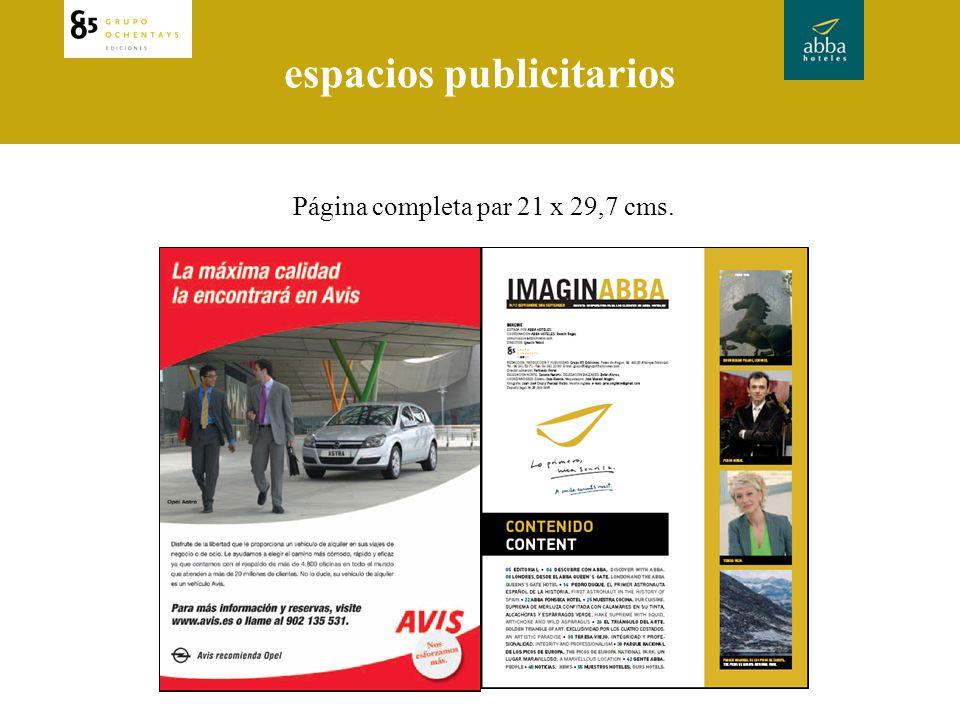 espacios publicitarios Página completa par 21 x 29,7 cms.