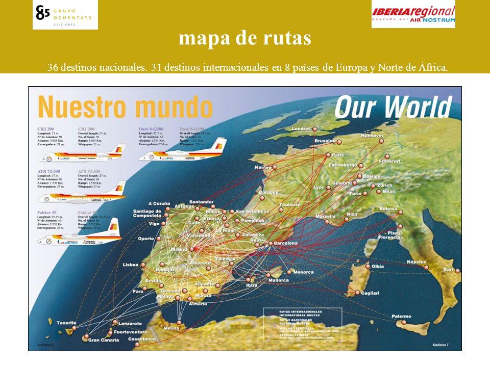 mapa de rutas 36 destinos nacionales.