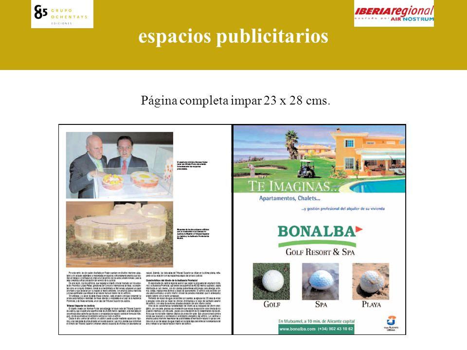 espacios publicitarios Página completa par 23 x 28 cms.
