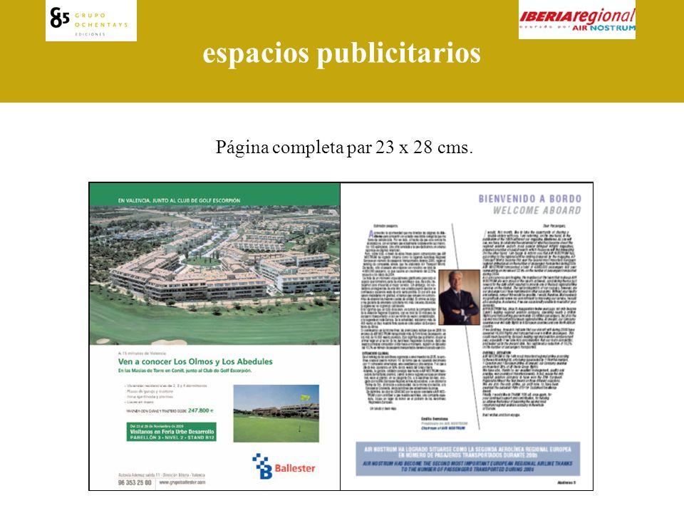 espacios publicitarios Media página vertical 23 x 14 cms.