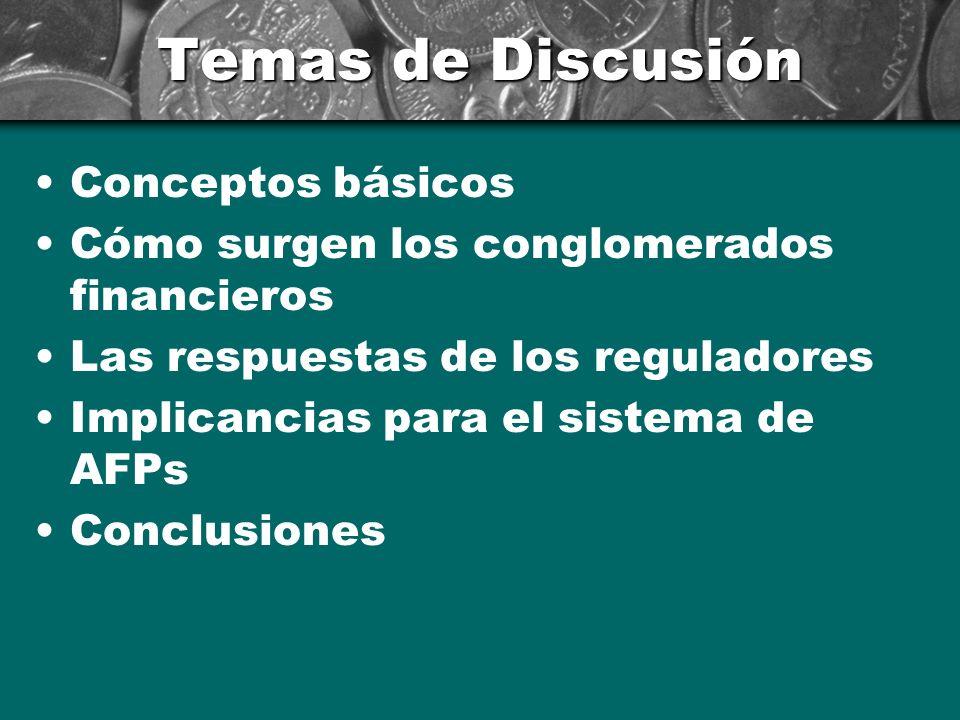 Temas de Discusión Conceptos básicos Cómo surgen los conglomerados financieros Las respuestas de los reguladores Implicancias para el sistema de AFPs Conclusiones