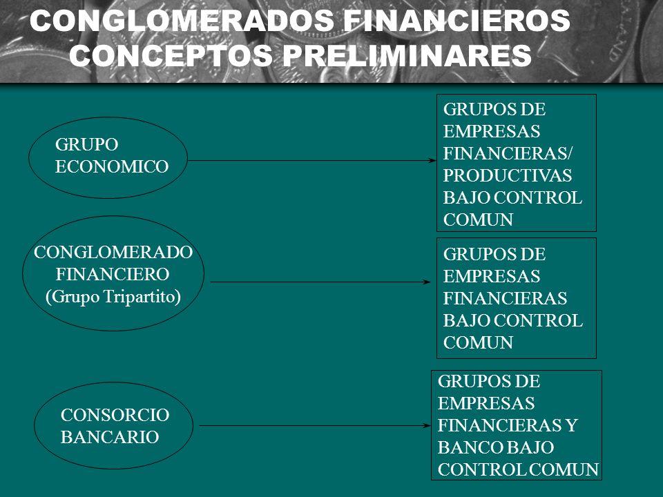 CONGLOMERADOS FINANCIEROS CONCEPTOS PRELIMINARES GRUPO ECONOMICO CONGLOMERADO FINANCIERO (Grupo Tripartito) CONSORCIO BANCARIO GRUPOS DE EMPRESAS FINANCIERAS/ PRODUCTIVAS BAJO CONTROL COMUN GRUPOS DE EMPRESAS FINANCIERAS BAJO CONTROL COMUN GRUPOS DE EMPRESAS FINANCIERAS Y BANCO BAJO CONTROL COMUN
