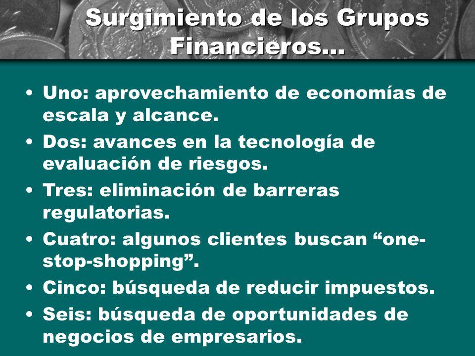 Surgimiento de los Grupos Financieros...Uno: aprovechamiento de economías de escala y alcance.