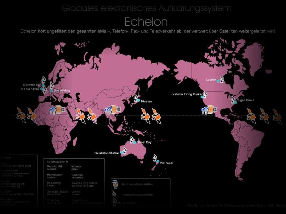 Documentos del Parlamento EuropeoDocumentos del Parlamento Europeo destapaban que bajo este nombre se esconde toda una red de espionaje, el llamado Sistema de Espionaje de Señales de los Estados Unidos (United States Sigint Sistem; USSS) y que bajo su capa se escondían la famosa Agencia Nacional de Seguridad (NSA) norteamericana, la CIA y departamentos especiales de la Armada y la Fuerza Aérea de los Estados Unidos.