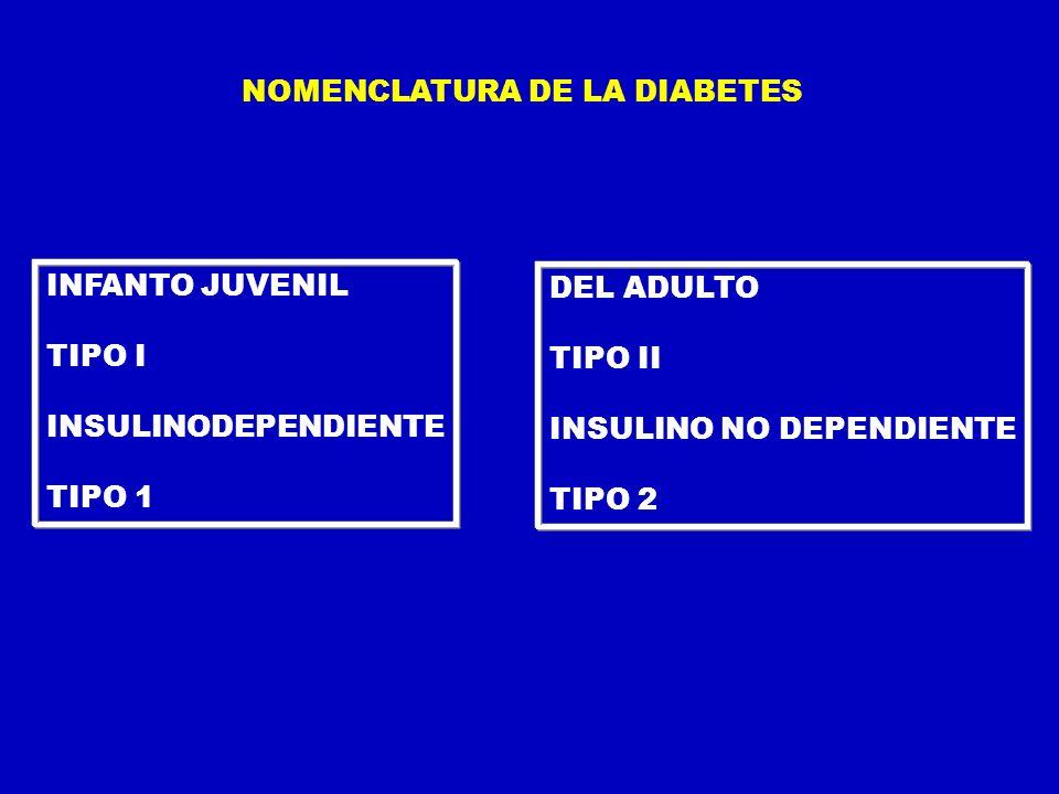 NOMENCLATURA DE LA DIABETES INFANTO JUVENIL TIPO I INSULINODEPENDIENTE TIPO 1 DEL ADULTO TIPO II INSULINO NO DEPENDIENTE TIPO 2