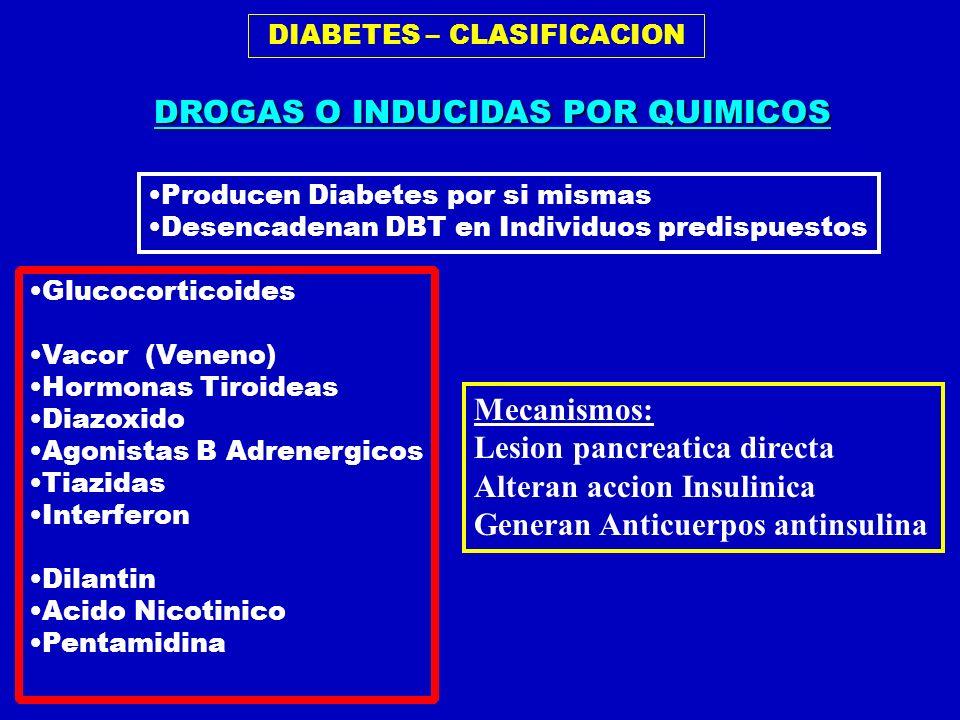 DIABETES – CLASIFICACION Glucocorticoides Vacor (Veneno) Hormonas Tiroideas Diazoxido Agonistas B Adrenergicos Tiazidas Interferon Dilantin Acido Nico