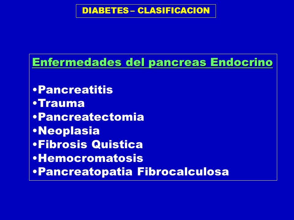 DIABETES – CLASIFICACION Enfermedades del pancreas Endocrino Pancreatitis Trauma Pancreatectomia Neoplasia Fibrosis Quistica Hemocromatosis Pancreatop