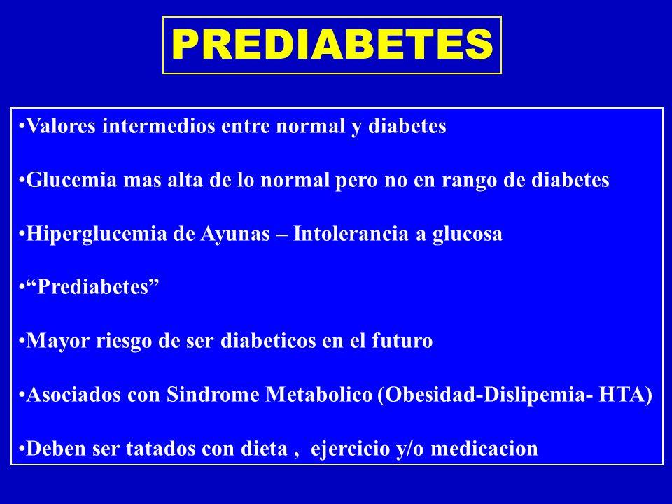 Valores intermedios entre normal y diabetes Glucemia mas alta de lo normal pero no en rango de diabetes Hiperglucemia de Ayunas – Intolerancia a gluco