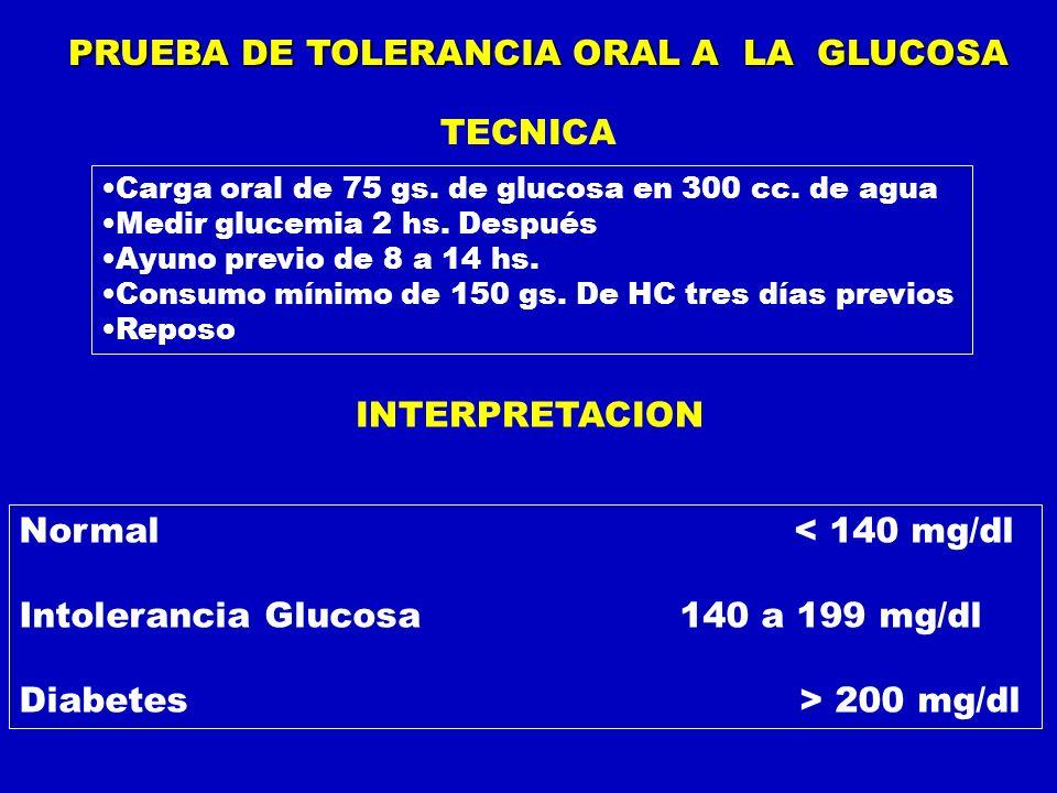 PRUEBA DE TOLERANCIA ORAL A LA GLUCOSA Carga oral de 75 gs. de glucosa en 300 cc. de agua Medir glucemia 2 hs. Después Ayuno previo de 8 a 14 hs. Cons