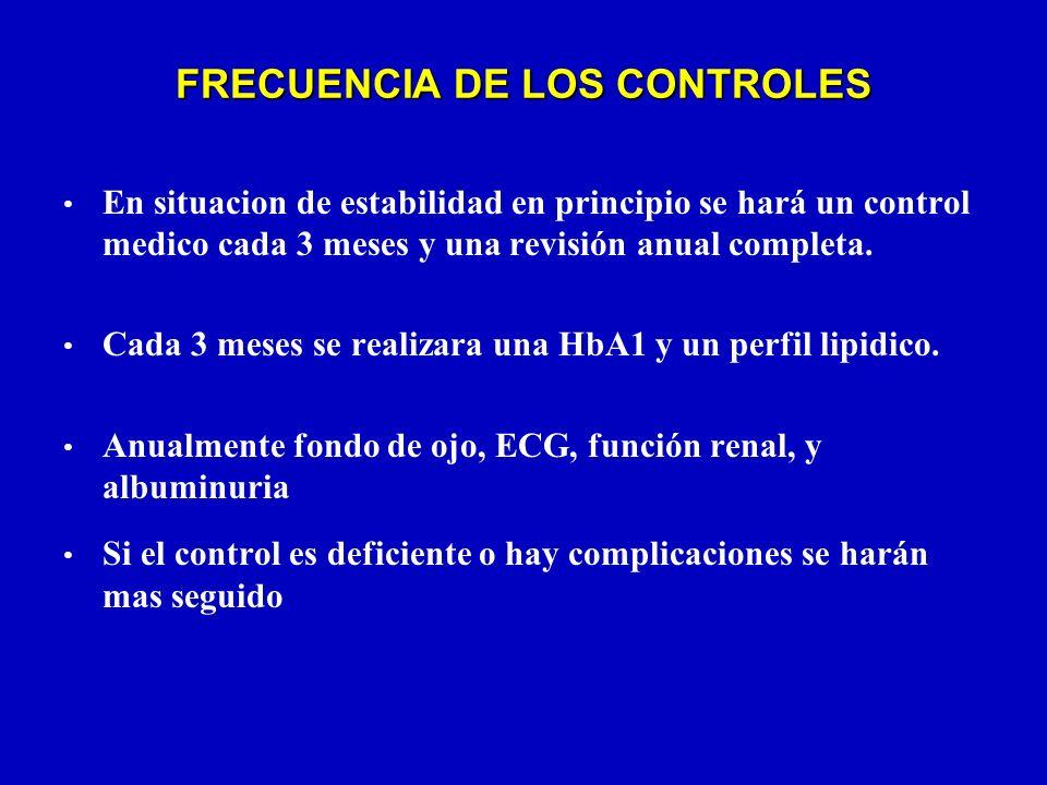 FRECUENCIA DE LOS CONTROLES En situacion de estabilidad en principio se hará un control medico cada 3 meses y una revisión anual completa. Cada 3 mese