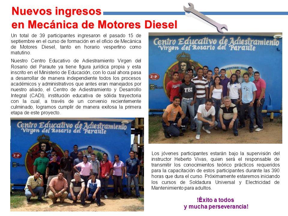 Un total de 39 participantes ingresaron el pasado 15 de septiembre en el curso de formación en el oficio de Mecánica de Motores Diesel, tanto en horario vespertino como matutino.