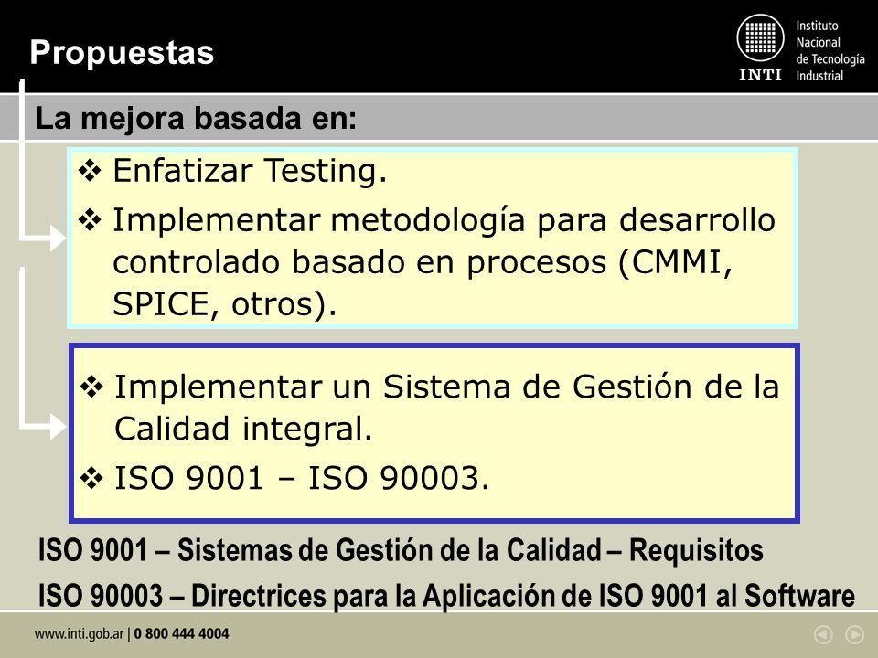 Enfatizar Testing. Implementar metodología para desarrollo controlado basado en procesos (CMMI, SPICE, otros). Propuestas Implementar un Sistema de Ge