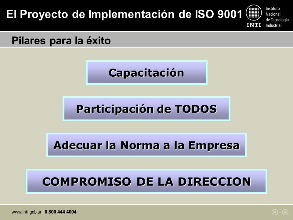 El Proyecto de Implementación de ISO 9001 Pilares para la éxito COMPROMISO DE LA DIRECCION Capacitación Participación de TODOS Adecuar la Norma a la E