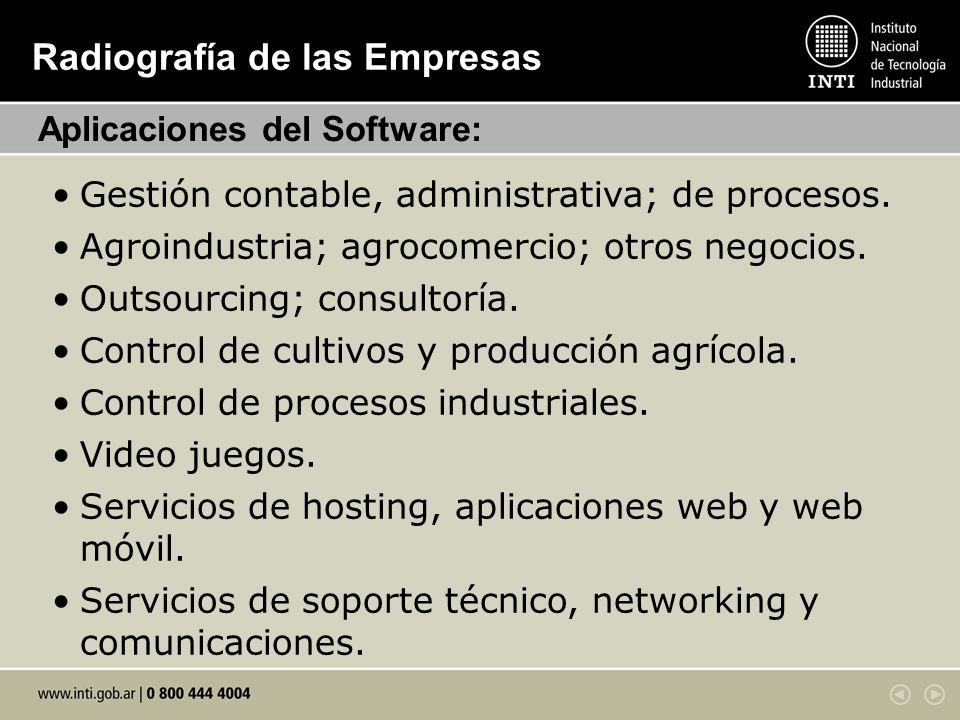 Radiografía de las Empresas Gestión contable, administrativa; de procesos. Agroindustria; agrocomercio; otros negocios. Outsourcing; consultoría. Cont