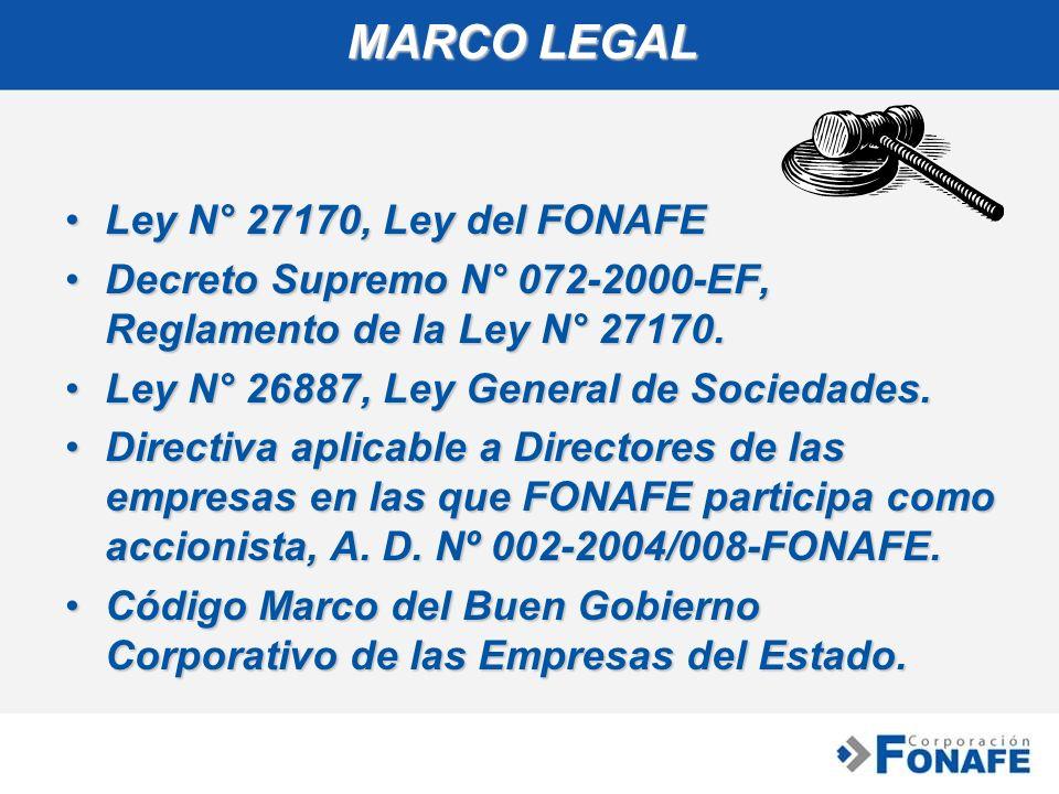 MARCO LEGAL Ley N° 27170, Ley del FONAFELey N° 27170, Ley del FONAFE Decreto Supremo N° 072-2000-EF, Reglamento de la Ley N° 27170.Decreto Supremo N°