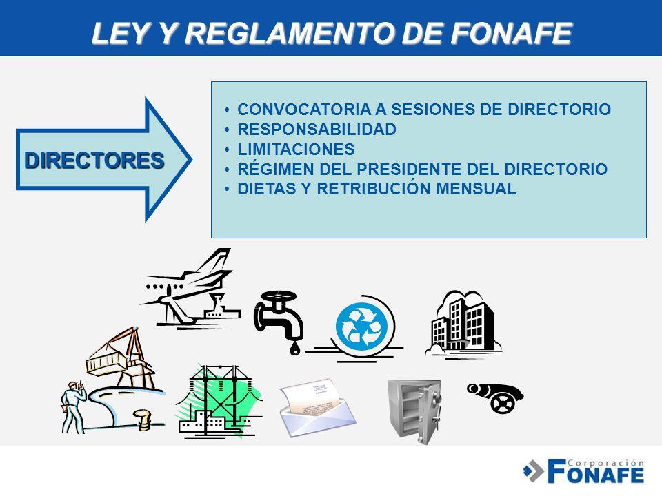 LEY Y REGLAMENTO DE FONAFE DIRECTORES CONVOCATORIA A SESIONES DE DIRECTORIOCONVOCATORIA A SESIONES DE DIRECTORIO RESPONSABILIDAD LIMITACIONES RÉGIMEN